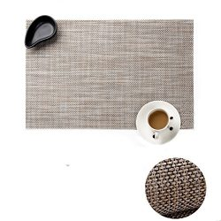 YUMMAYEE PVC Woven Vinyl Kitchen Table mats Placemats for Dining Table Placemats Stain Resistant ...