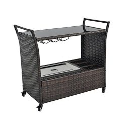 Outdoor Patio Brown Wicker Rattan Chest Portable Bar Cart on Rolling Wheels with Stainless Ice B ...