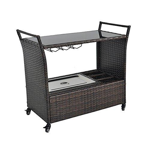 Outdoor patio brown wicker rattan chest portable bar cart for Outdoor mobel rattan