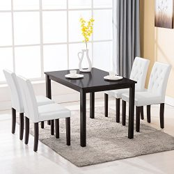Mecor 5 Piece Dining Table Set Wood Table/4 Leather Chairs Kitchen Room Breakfast Furniture (White)