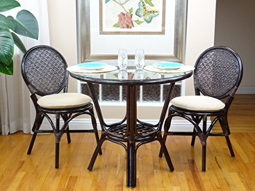 Small Round Glass Dining Table And 2 Chairs: 3 Pc Rattan Wicker Dining Set Round Table Glass Top+2