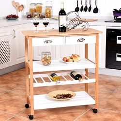 Giantex Rolling Kitchen Trolley Cart w/Drawers & Shelf Bamboo Home Restaurant Mobile Island  ...