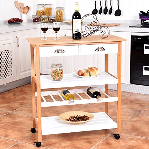 Giantex Rolling Kitchen Trolley Cart W Drawers Amp Shelf