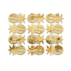 Colorido 12Pcs/Set Cute Pineapple Acrylic Mirror Wall Stickers Decal Room Decor size Medium (Golden)