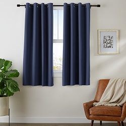 AmazonBasics Room-Darkening Blackout Curtain Set with Grommets – 52″ x 63″, Navy