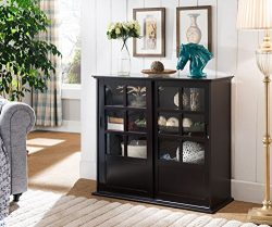Kings Brand Furniture Wood Curio Cabinet with Glass Sliding Doors, Espresso