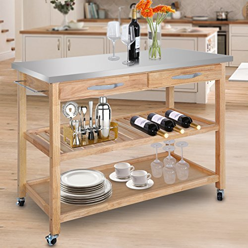 Kitchen Great Kitchen Carts Lowes To Make Meal: ZenChef Rolling Kitchen Island Utility Kitchen Serving