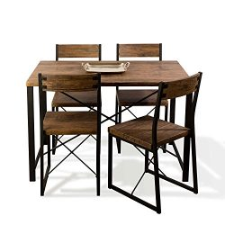 urb SPACE 82008064 Urban Blend Dining Set, 43.30″ x 27.60″ x 29.72″, Wood/Black