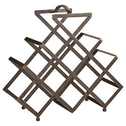 Rivet Modern Geometric Iron Wine Rack, 17.5″ H, Black