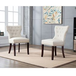 DAGONHIL Fabric Dining/Accent Chairs (set of 2)with Brown Solid Wooden Legs,Nailed Trim (Beige)