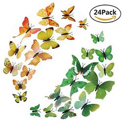Aiyuli 24 PCS 3D Man-made Lively Butterfly Refrigerator Magnets Removable Art DIY Wall Stickers  ...