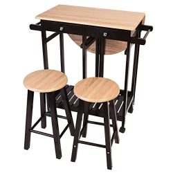 Giantex 3PCS Wood Kitchen Rolling Casters Fold Table Drop Leaf 2 Drawers With 2 Stools