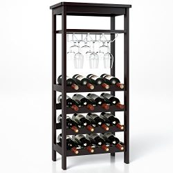 Homfa Bamboo Wine Rack Free Standing Wine Holder Display Shelves with Glass Holder Rack, 16 Bott ...