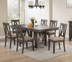Kings Brand 7 Piece Lynn Brown Wood Rectangle Dining Room Table & 6 Chairs