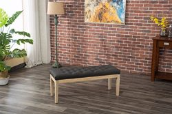 Roundhill Furniture CB171CC Mod Urban Style Solid Wood Button Tufted Fabric Dining Bench, Grey