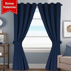 H.VERSAILTEX True Navy Solid Thermal Insulated Grommet Blackout Curtains/Drapes Set for Bedroom  ...