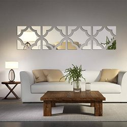 Alrens(TM)20pcs/Set Geometric Art 3D Acrylic Mirror Wall Sticker Home Decor DIY Kitchen Living R ...