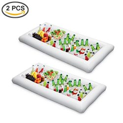 ShineMe 2 pcs Inflatable Ice Serving/Salad Bar Tray Food /Drink Holder Fruit Plate Kitchen Coole ...