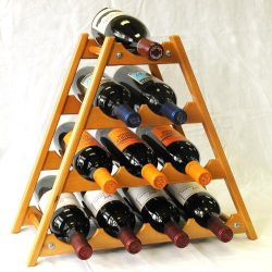 Wine Rack Wood -10 Bottles Hardwood Stand -Oak