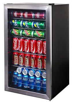 NewAir Beverage Cooler and Refrigerator, Mini Fridge with Glass Door, Perfect for Soda Beer or W ...
