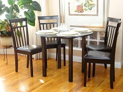 Dining Kitchen Set 5 Pcs Classic Round Table and 4 Solid Wooden Chairs Warm Espresso Black Finish