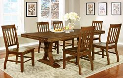 Furniture of America Castile 7-Piece Transitional Dining Set, Dark Oak