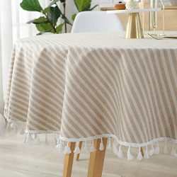 ColorBird Stripe Tassel Tablecloth Cotton Linen Dust-proof Table Cover for Kitchen Dinning Table ...