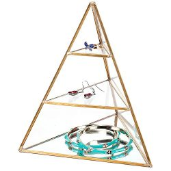 MyGift 3-Tier Glass Pyramid Jewelry Stand Display Case with Vintage Style Brass Tone Metal Frame