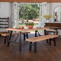 Arlington   Acacia Wood Dining Set   in Brushed Grey