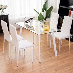 TANGKULA 5 PCS Dining Table Set Modern Tempered Glass Top and PVC Leather Chair w/4 Chairs Dinin ...