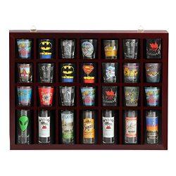 Yaheetech 28 Shot Glass Display Case Glass Display Cabinet Shot Glasses Case Holder Cabinet Rack ...
