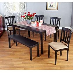 Metropolitan Black 6-Piece Dining Set with Table, Bench and Four Chairs for Dining Room, Kitchen ...