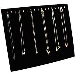 Ogrmar Black Velvet 17 Hook Necklace Jewelry Tray /Display Organizer/Pad /Showcase/ Display case ...