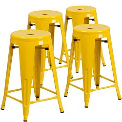 "Flash Furniture 4 Pk. 24"" High Backless Yellow Metal Indoor-Outdoor Counter Height Stool w ..."