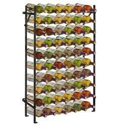 Modern Black Metal 60 Bottle Wine Cellar Organizer Rack / Wall Mounted Wine Collection Display Stand