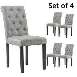 YEEFY Habit Solid Wood Tufted Parsons Dining Chair (Set of 4) (Gray)