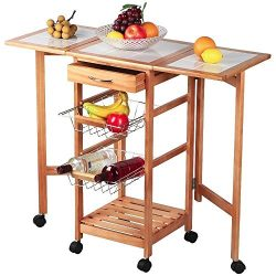 Brown Rolling Portable Kitchen Island Storage Trolley Cart