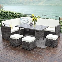 Wisteria Lane Outdoor Patio Furniture Set,10 PCS Sectional Conversation Set All Weather Wicker S ...