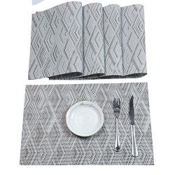 HEBE Placemats, Placemats for Dining Table Set of 6 Durable Crossweave Woven Vinyl Placemat Heat ...