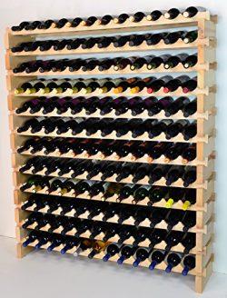Modular Wine Rack Beechwood 48-144 Bottle Capacity 12 Bottles Across up to 12 Rows Newest Improv ...