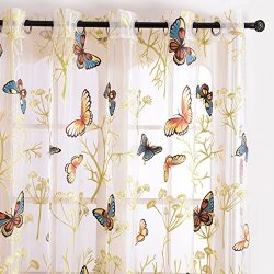 Top Finel Butterfly Window Sheers Curtains Panels Voile Gauze For Kids Girls Room 54 X 96 inch L ...