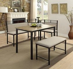 4D Concepts 159369 Tool Less Boltzero Corner Nook Dining Table, Washed Walnut