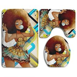 Xush African Black Women 3 Piece Bath Rug Set Non-Slip Bathroom Rug Contour Mat Lid Cover For Ba ...