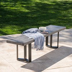 Andre Outdoor Textured Grey Oak Finish Light Weight Concrete Dining Bench