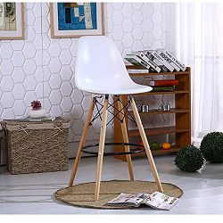 Fancyhouse Wood White Bar stool Living room set Chairs set of 2 Eames Style
