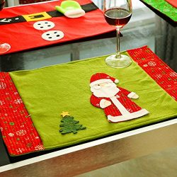 Christmas Placemats, Zubita Knife Fork Placemat Christmas Santa Snowflake Table Mat Christmas Ho ...