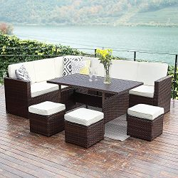Wisteria Lane Patio Sectional Furniture Set,10 PCS Outdoor Conversation Set All Weather Wicker S ...