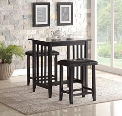 Roundhill Furniture 3-Piece Counter Height Dining Set with Saddleback Stools, Black