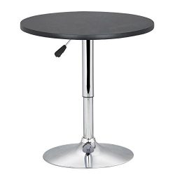 World Pride Black Round Pub Table Outdoor/Indoor Swivel Pedestal Table Adjustable 24~35 Inch