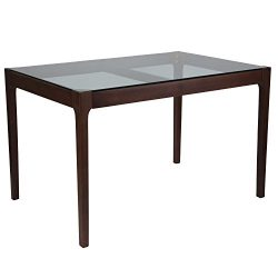 "Flash Furniture Everett 31.5"" x 47.5"" Solid Walnut Wood Table with Clear Glass Top"
